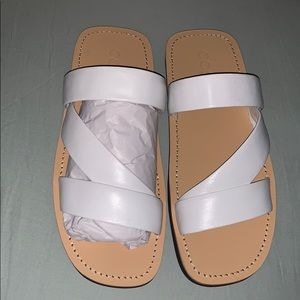 White leather COS sandals